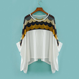 Wholesale Printed chiffon casual bat shirt