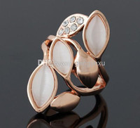 Cluster Rings Women's Gift Wholesale - Fashion Rose Gold Opal Set With Diamonds Ring Alloy Crystal Rhinestones Bride Wedding Rings