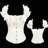 Bra Sets Polyester Normal bra set NEW SEXY White FULL STEEL BONES LACE UP CORSET TOP BUSTIER WITH THONG drop shipping