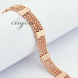 Promotion lien pour perles Nouveau mode bijoux 8mm Mens Womens perles lien chaîne 18K Rose Gold remplis Bracelet or bijoux livraison gratuite DJB123