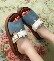 Wholesale 2014 new denim cloth with buckle sandal slipper platform sandals cool shoes garden clogs shoes size to