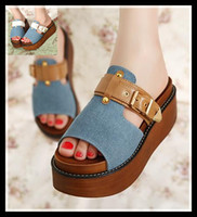 Wholesale 2014 new denim cloth with buckle sandal slipper platform sandals cool shoes garden clogs shoes size to epacket
