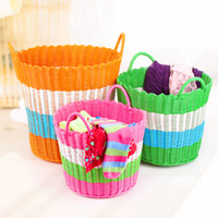 Wholesale Home home round ears woven plastic rattan laundry basket Storage basket Storage basket Laundry basket SN1456