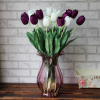 silk tulips - 10PC Tulips Silk Flower Simulation Dew Fake Flowers Plant Floral Variety Ornament