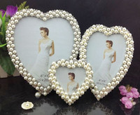 Wholesale alloy frame quot quot quot Pearl diamond inlaid metal alloy photo frame wedding photo frame bridal gifts