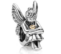 Wholesale 925 Sterling Silver Angel Pandora Bracelet Style Charm CT Gold Fairy Pixie Beads
