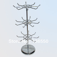 Wholesale YEON Layers metal chrome or poweder coated rotating jewelry display stand rack for jewelry store black or silver