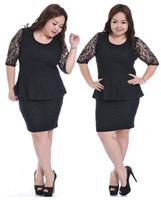 Work Sheath Mini 2014 New Women Black Lace and Mini Skirt Fashion Big Size European Fashion Big Size Business Clothing Suits Tops Dress