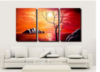 Abstract   100% handmade tree oil goods modern 3 panel wall art canvas abstract oil painting home deco gift free shipping