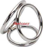 Steel Stainless Steel  Wholesale - Male Chastity Devices Bondage Stainless Steel Cock rings Penis Ring 3 Rings Together; Sex Toys for Men Dildo Rings SM251