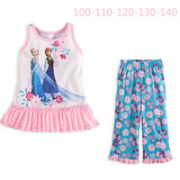 Girl Summer Sleeveless 2-7 Y 2014 New Summer Kids Baby Girl Child Sleeveless Princess Flower Cartoon Frozen Elsa Anna Vest + Shorts Pant Pajamas Set H0140594