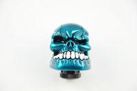 Wholesale Universal Shift Knob Manual Gear stick Shift Shifter Lever Knob Wicked Carved Skull refit Decoration Blue Gear Stick