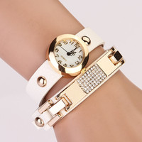 Wholesale 2014 New Arrivals women vintage leather strap watches Retro set auger rivet bracelet women luxury dress watches luxury women watches XR324