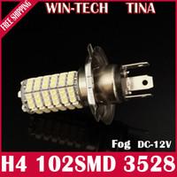 Fog Light H4 Front New arrival 102 SMD LED White H1 H3 H4 H7 H8 H11 3528 Car Fog light Headlight Bulb DC 12V 6000K-7000K