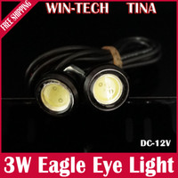 Wholesale 3W Black High Power LED Larger Lens Ultra thin car led Eagle Eye Tail light Backup Rear Lamp White Red Blue Green Yellow Color