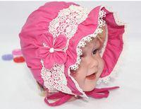 Cheap Korean New Arrive cap infant flower lace caps hat baby sun hat baby bucket hats child hat Free Shipping HA090