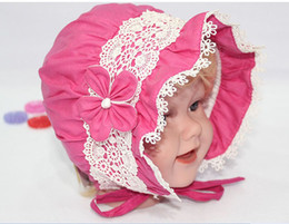 Wholesale Korean New Arrive cap infant flower lace caps hat baby sun hat baby bucket hats child hat HA090
