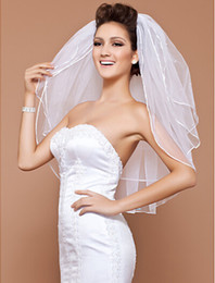 Three tier White Ivory Tulle Elbow length Wedding Veils With ribbon Edge pearls beaded bridal dresses veil