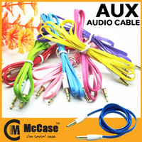 Wholesale 3 mm Flat Noodle Aux Audio Cable Style Extension Stereo Auxiliary Cables Colorful For Headphone Cellphone Mp3 Mp4 Smartphone