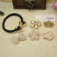 Pins & Needles Pins & Needles Metal Wholesale - A+++Rubber band Buckle Pearl Round Bow Decoration Alloy Embellishment DIY Hair Accessorycheapest
