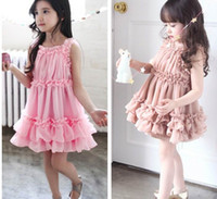 TuTu Summer A-Line Korean Phelfish Girls Summer Dresses 13759 Ruffle Splicing Princess Tutu Dress Children Clothing