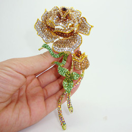 Wholesale-Classic elegant brown crystal rhinestone roses bud gold plated decorative brooch pin