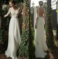 A-Line wedding dress ribbon - Bateau A line Backless Wedding Dress Sheer Sleeve Applique Ribbon Wow Chiffon Lace Berta Bridal Winter Long Sleeve Wedding Dresses