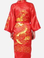 Wholesale new arrival Red Chinese men s Satin Polyester Embroidery Robe Kimono Nightgown Dragon Sleepwear M L XL XXL S0010