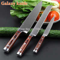 Wholesale High quality quot Utility knife bread knife Chef knife stainless steel Kitchen Knife sets with color wood handle