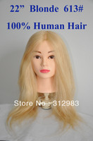 Wholesale 22 quot natural human hair training cutting styling dye practice training mannequin manikin head hairdressing blonde color