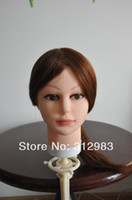 Wholesale 16 quot inch natural human hair hairdressing training styling practice mannequin manikin head black color B face