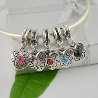 Wholesale 100pcs Mix color Rhinestone Heart Shape Charms Dangle Big Hole European Spacer Beads