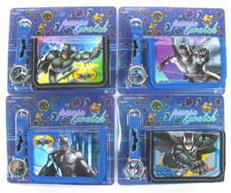 Wholesale new Batman Cartoon Child Quartz Wrist Watch Clock with One Purse Wallet Pocket for Boys Kids Children Birthday Gift alo