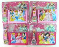 Wholesale 10sets new arrived hot cute kids Projection girls students gifts princess D Cartoon quartz wrist watch wallet purse