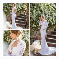 Reference Images Halter Chiffon Elegant Sexy Chiffon Lace White Sweep Train Backless Vneck Halter Long Sleeve Keyhole Garden Beach Wedding Dress Prom Evening Gowns 2014 New