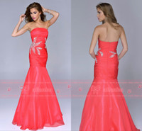 Wholesale 2014 New Vintage Mermaid Prom Dresses Strapless Backless Pageant Dresses Sequins Beaded Tiers Ruched Zipper Organza Evening Gowns NC4019