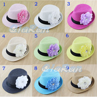 Wholesale 2014 New Hot Sale Baby Summer Big Flower with Diamond Fedora Hat Straw Top Belt Fedora Hat Baby Jazz Cap Sunbonne Hat For Girls