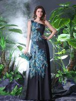 Reference Images One-Shoulder Taffeta Elegant Black Satin Applique Peacock Print Evening Dress Prom Dress
