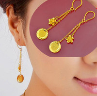 Wholesale Wafer flowers k gold plated Dangle amp Chandelier earrings bride Women