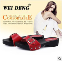Women Wedge Genuine Leather Free Shipping Fashion Weideng shoes Leisure Genuine Leather Women's Home Slippers, Casual Summer Sandals Flats 100% High Quality