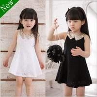 Wholesale Retail NC10 new Summer children girl fashion Paillette collar princess lace Vest skirt kid one piece dress