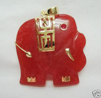 Pendant Necklaces Women's Pendants 3 PC Charming Red Jade Elephant Pendant Necklace 100% free shipping