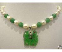 Beaded Necklaces Women's Chokers Necklaces Charming white pearl jade elephant pendant necklace