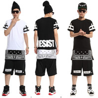 Wholesale Ktz Rhude Bapes Hood By Air Bandana Shirt Harajuku Pyrex Women Men Hiphop Clothes Hip Hop Dance Clothes Personality T Shirt Fashion