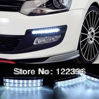 2013 C002071 BMW New 2X 8LED White Car Driving Lamp Fog 12v Universal Drl Daytime Running Light Free shipping