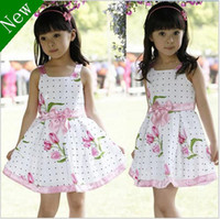 Wholesale NC11 HOT new fashion girl Europe Style High quality Sleeveless princess flower one piece dress skirts clothing year