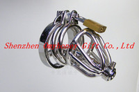 Steel Stainless Steel  wholesale 2014 new male chastity devices dildo bondage stainless steel cockrings small cock cage penis cage with penis plug & sounds AM931