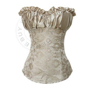 Women Polyester Lace Sexy Shirts Lace Satin Lacing Pleated Bustier Top Corset Thong Beige Black Shirt S M L XL XXL Free Shipping nz12