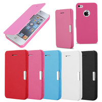 Wholesale Slimmest Iphone Folio Case - For iPhone 5S 4S Magnetic Ultra Thin Slim Flip Folio Wallet Leather Cover Case With Free Screen Protector For iPhone5 5 4S