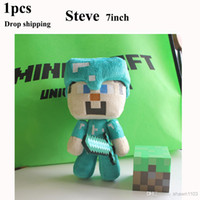 Farm Animals Blue Plush Wholesale - Minecraft plush toy Minecraft Steve plush toy doll stuffed toys 7inch *GREAT QUALITY* *